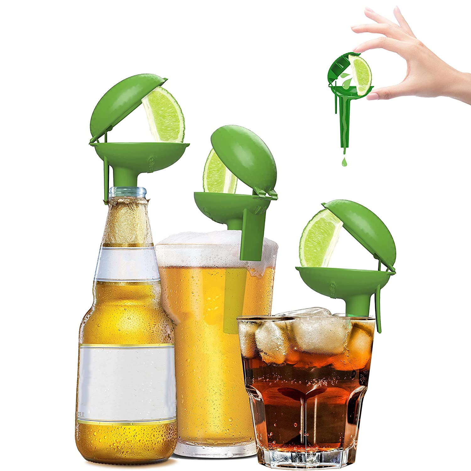 HeadLimes Clip-On Citrus Squeezer, Adds Lime or Lemon Directly to a Drink- a Fun Novelty Party Gift, Handheld Juicer or Bar Accessory, 8-pack (Lime Edition)