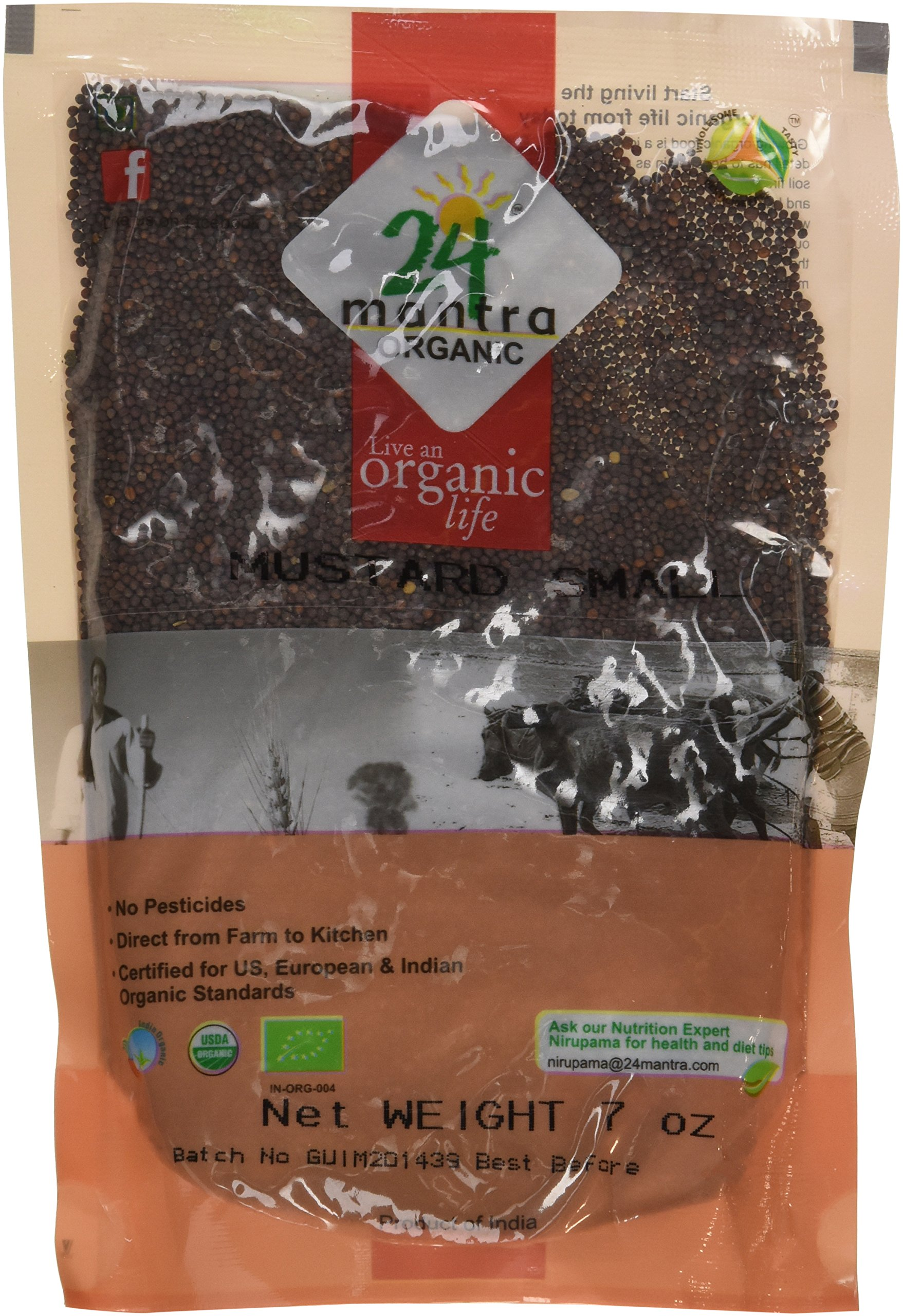 Organic Mustard Seeds Small - ★ USDA Certified Organic - ★ European Union Certified Organic - ★ Pesticides Free - ★ Adulteration Free - ★ Sodium Free - Pack of 3 X 7 Ounces (21 Ounces) - 24 Mantra Organic