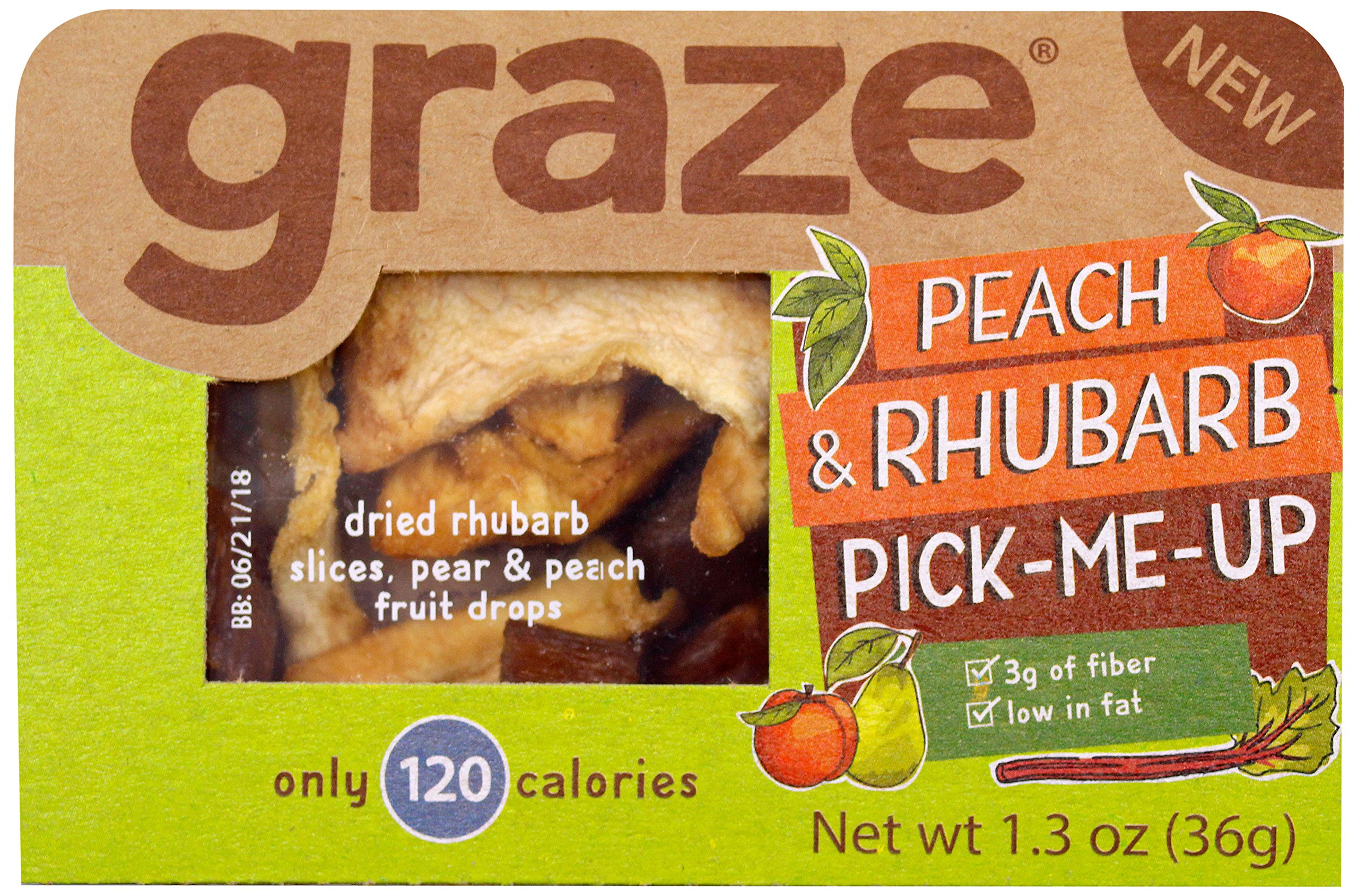 Graze Natural Peach and Rhubarb Pick-Me-Up Snack, with Rhubarb Slices, Pear and Peach Fruit Drops, Healthy, Natural Dried Fruits Trail Mix, 1.3 Ounce Box, 9 Pack by Graze