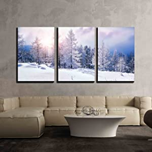 wall26 - 3 Piece Canvas Wall Art - Snow Covered Trees in The Mountains at Sunset. Beautiful Winter Landscape. Winter Forest. - Modern Home Art Stretched and Framed Ready to Hang - 16