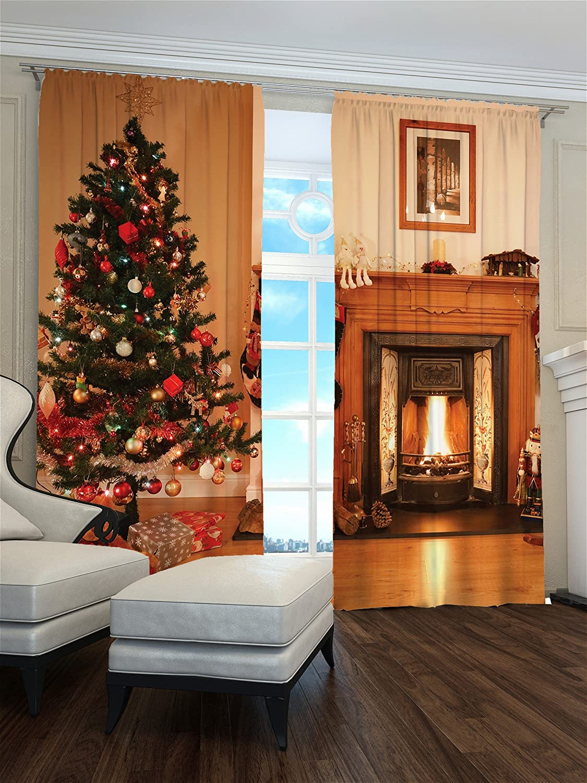 Lemare Weihnachtsvorhänge Digitaldruck Weihnachtsabend 2X 145x260 cm Blickdicht