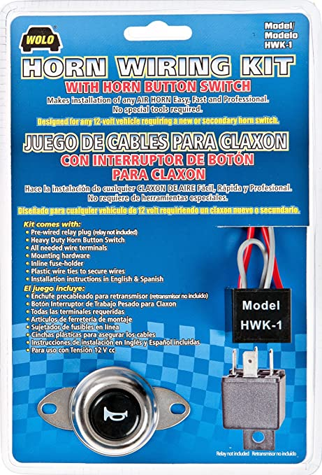 Amazon.com: Wolo (HWK-1) Air Horn Wiring Kit with Horn Button Switch:  AutomotiveAmazon.com