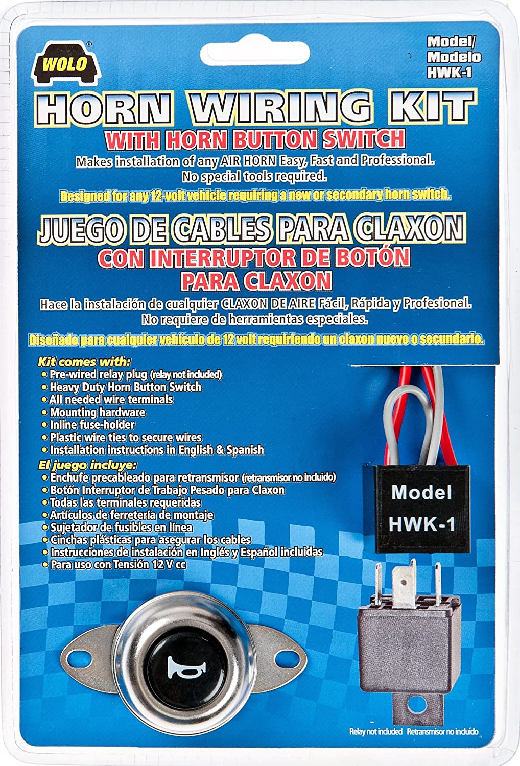 Wolo Hwk 1 Air Horn Wiring Kit With Button Switch Relay Motorcycle Automotive