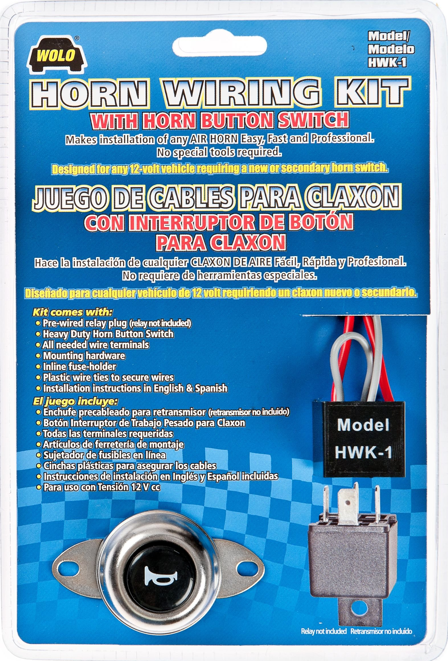 Wolo (HWK-1) Air Horn Wiring Kit with Horn Button Switch by Wolo (Image #1)