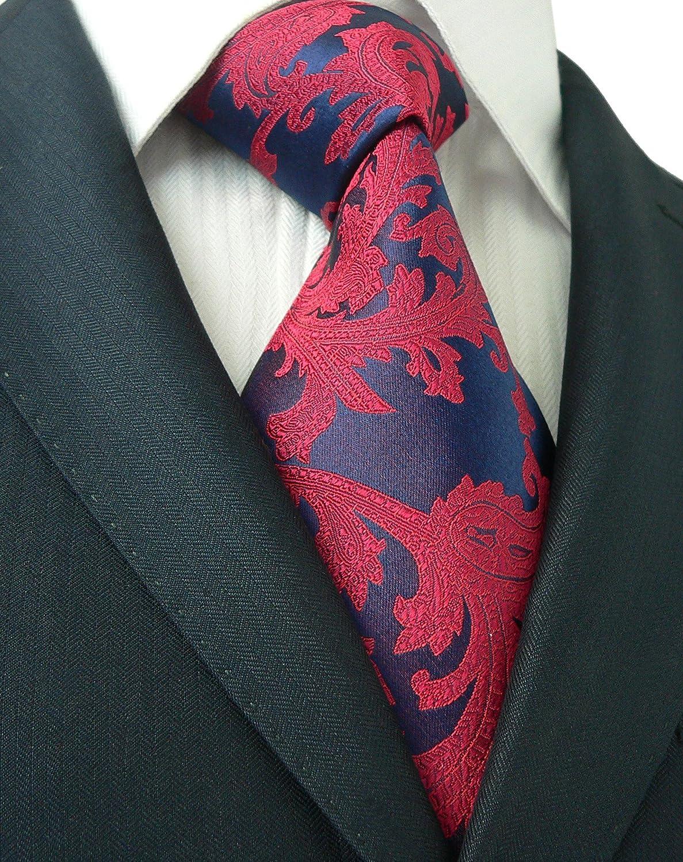 Landisun 21N Paisleys Mens Silk Tie Set: Necktie+Hanky+Cufflinks Silver White, 3.25Wx59L 3.25Wx59L 1821N
