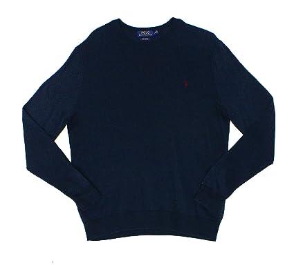 Polo Ralph Lauren Mens Crew Neck Pima Cotton Sweater (X-Small, Navy)