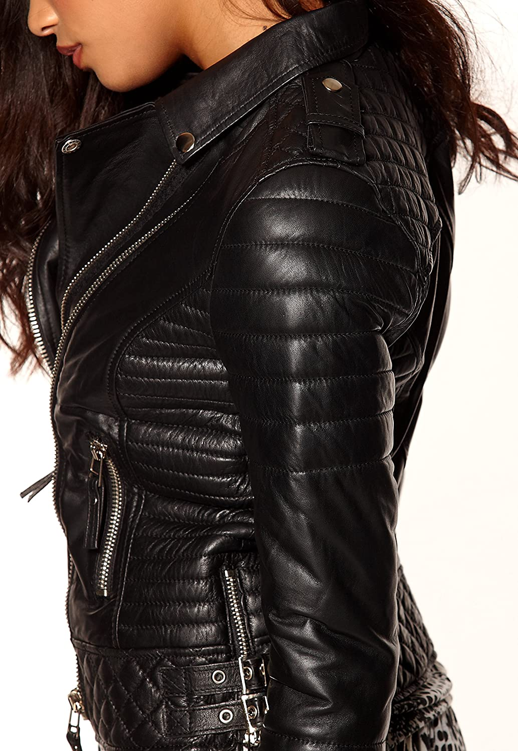 Aries Leathers Women New Biker Quilted Real Lambskin Leather Jacket WJ65
