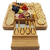 La Mongoose Deluxe Cheese Board and Knife Set with Slide-Out Drawer. 4 Stainless-Steel Serving Knives Utensils. Cracker Groove Large Cutting Plate. Bread, Fruit, Charcuterie Classic Bamboo Cheeseboard
