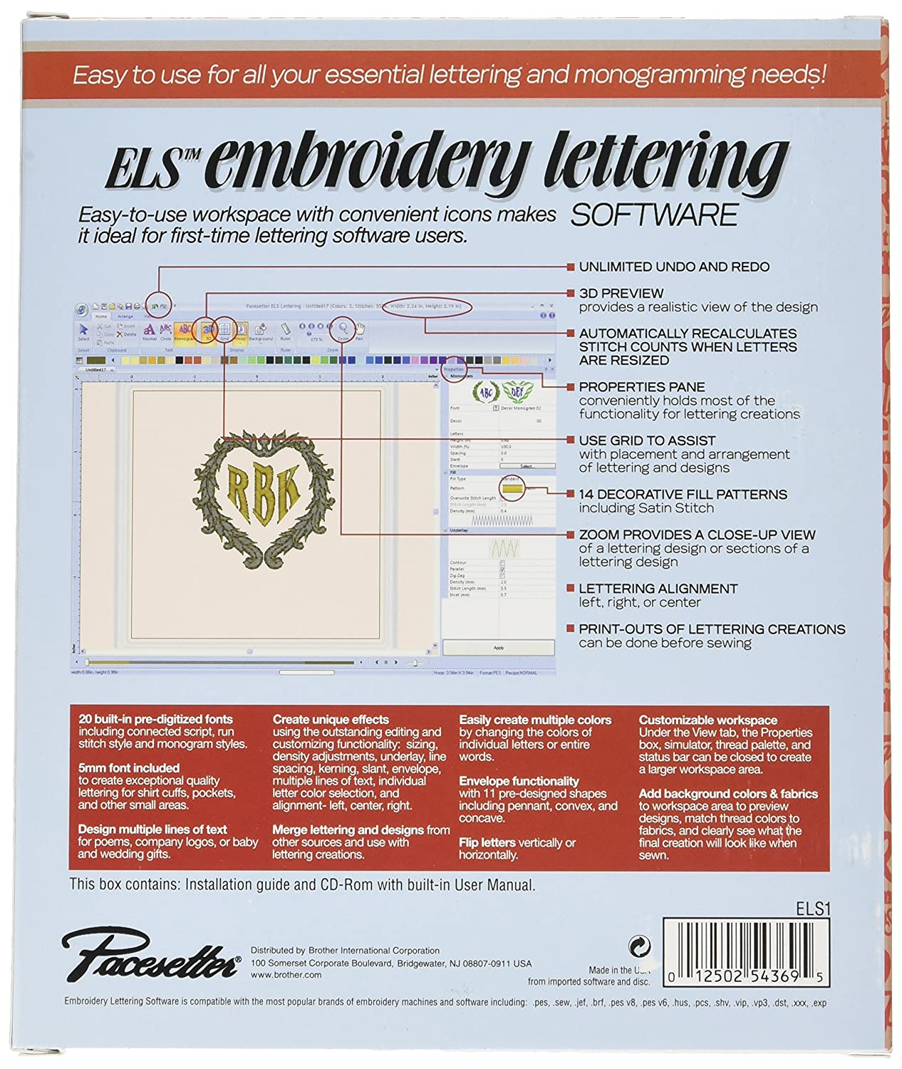 amazoncom brother els embroidery lettering monogramming software