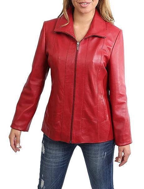 Mujer Clásico Cremallera Cuero Real Semi-Ajustado Chaqueta de Piel de Cordero Julia Rojo (