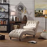Rosevera TeofilaTufted Chaise Lounge Chair, Beige
