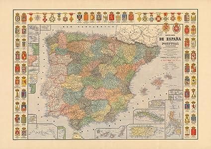Nuevo Mapa de Espanna y Portugal y de sus Colonias, 1892 | Historic Antique Vintage