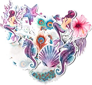 Navy Peony Mystical Mermaid Stickers and Decals (21 Pieces) | Aesthetic Stickers for Water Bottles and Phone Cases | Unique Party Favor for Girls | Waterproof Stickers for Hydro Flasks and Laptops