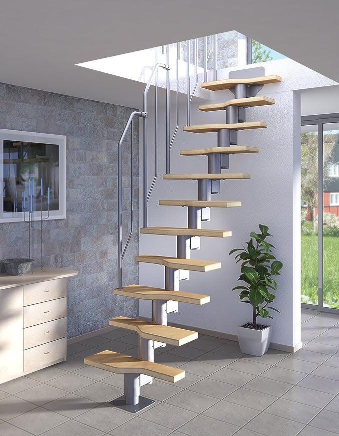 Escalera con peldaños de madera de haya (multiplex) altura de planta 222-276 cm, cantidad de peldaños variable, fácil montaje, peldaños ajustables: recto hasta 1/4: Amazon.es: Bricolaje y herramientas