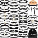 Outee Choker Necklace Set Black Velvet Choker Tattoo Necklace Classical Gothic Chokers for Women Girls (42 Pcs)