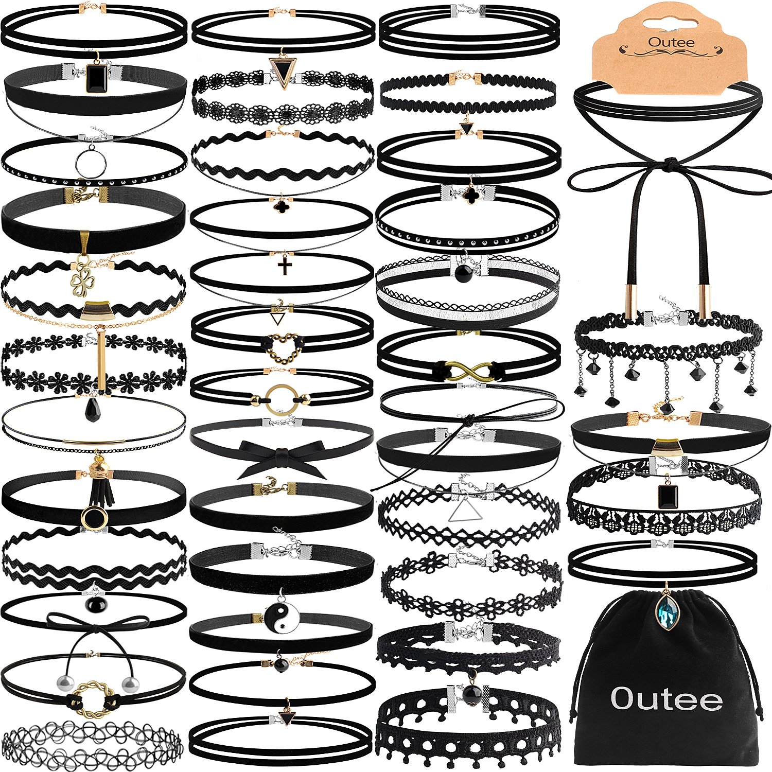 Choker Sets, Outee 55 Pcs Black Choker Necklace Set 2018 New Design Lace Choker Stretch Tattoo Choker Velvet Set Tattoo Necklaces Lace Choker Tattoo Necklaces for Womens Girls CYM4005