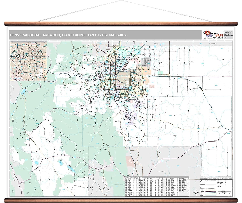 Amazon.com: MarketMAPS Denver-Aurora-Lakewood, CO Metro Area Wall ...