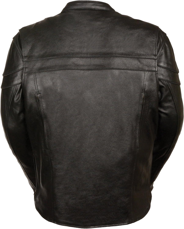 Event Biker Leather Mens Split Leather Vented Scooter Jacket Black, Small
