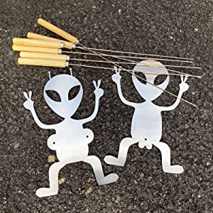 TFhalo Hot Dog Marshmallow Roasting Sticks,Funny Men and Woman Shaped Campfire Roaster with 6pcs Barbecue Sticks,Stainless Steel Adult Hot Dog Sticks for Father's Day