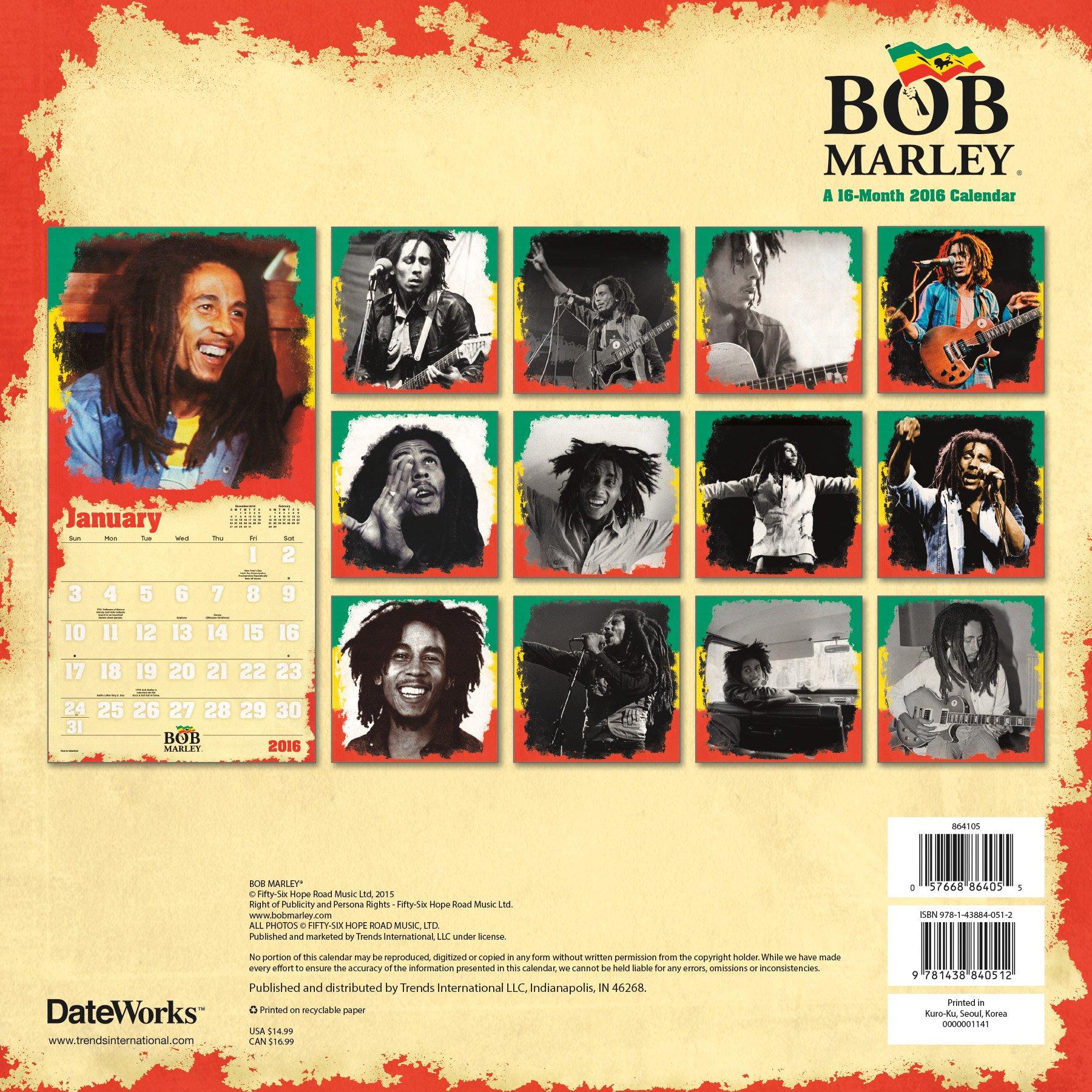 Amazon Fr Bob Marley 2016 Calendar Trends International Livres