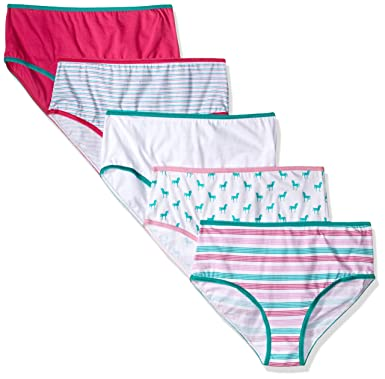 Trimfit Girls 100 Percent Cotton Tagless Assorted Briefs Panties Pack of 5