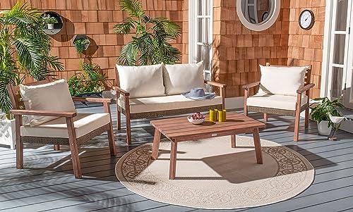 Safavieh PAT7051A Collection Reid Grey Wash 4-Piece Outdoor Patio Set
