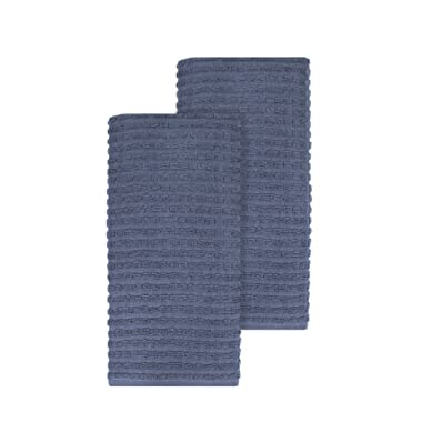 Ritz Royale Collection 100% Combed Terry Cotton, Highly Absorbent, Oversized, Kitchen Towel Set, 28  x 18 , 2-Pack, Solid Federal Blue