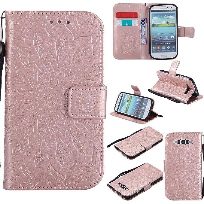 Coque pour Samsung Galaxy S3 i9300 / S3 Neo,Housse en cuir pour Samsung Galaxy S3 i9300 / S3 Neo,Ecoway Tournesols de motifs en relief étui en cuir PU Cuir Flip Magnétique Portefeuille Etui Housse de Protection