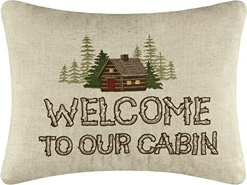 C F Home Welcome to Our Cabin Lodge Embroidered Pillow 14 x 18 Brown