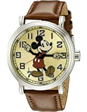 Disney Men's W002419 Mickey Mouse Analog Display Analog Quartz Brown Watch