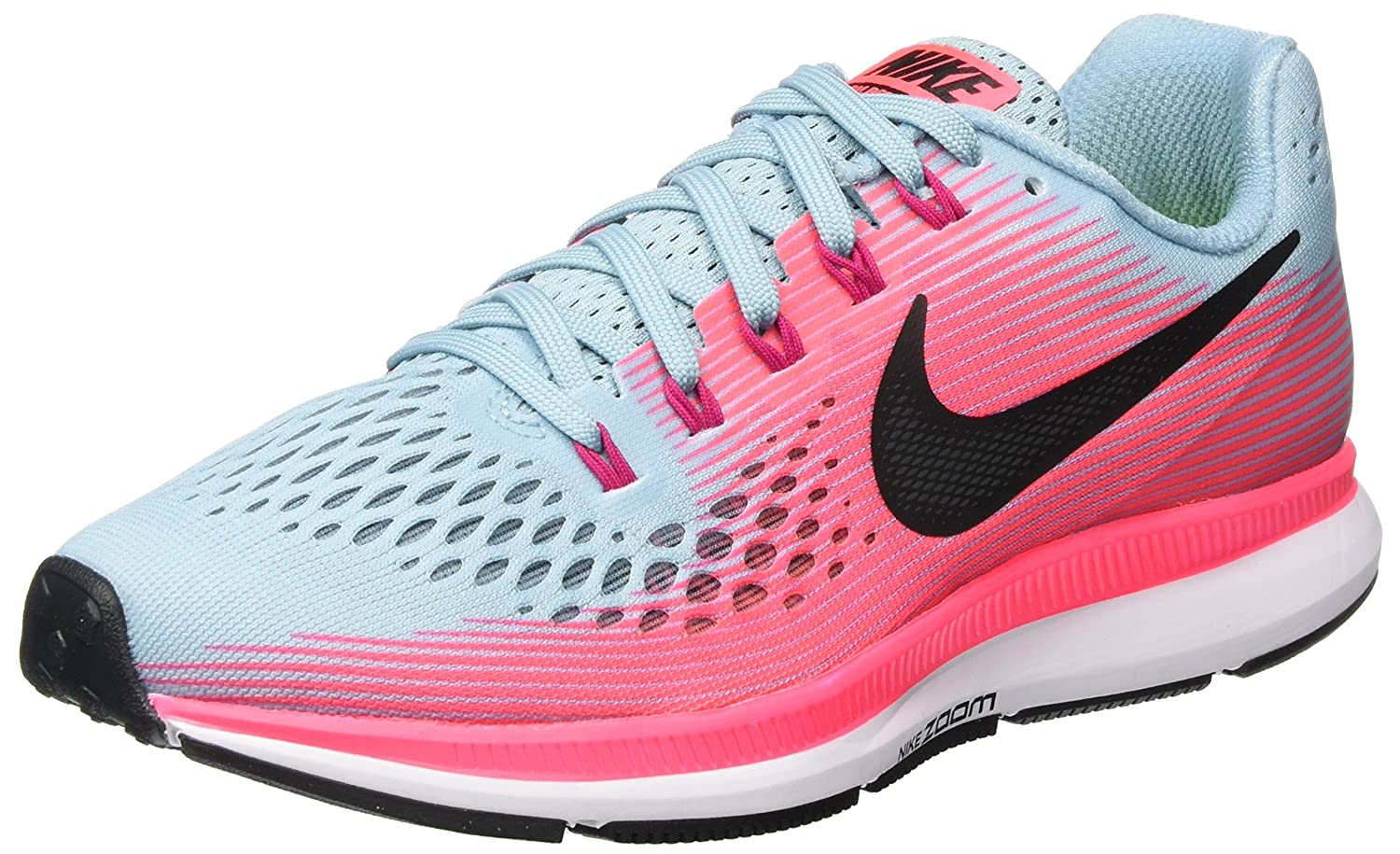 NIKE Women s Air Zoom Pegasus 34 Running Shoe MICA Blue White-Racer Pink-Sport Fuchsia, 8 M US