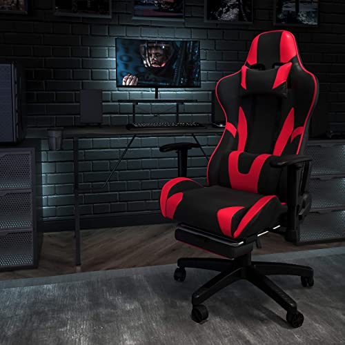 Flash Furniture Black Gaming Desk and Red/Black Footrest Reclining Gaming Chair Set