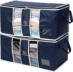 Home Maximize Clothes Storage Bag Organizer for Clothing, Blankets, Comforters, Sweaters, Bedding Reinforced Handle with Sturdy Zipper,Clear Window, 2 Pack, Blue