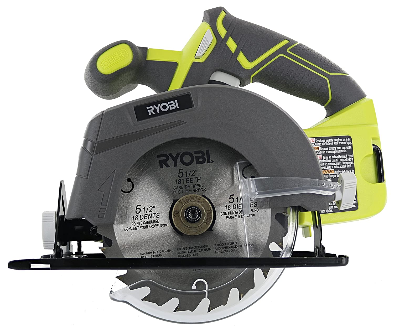 "Ryobi One P505 18V Lithium Ion Cordless 5 1/2"" 4,700 RPM Circular Saw (Battery Not Included, Power Tool Only), Green"