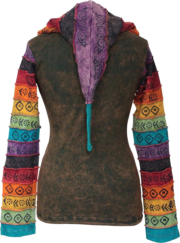 délavéà l'acide multicolore patchwork capuche, RAYURES ARC EN CIEL MANCHE HIPPIE veste , boho Vert