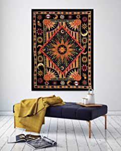 THE ART BOX Hippie Mandala Yellow Sun Moon Burning Sun Psychedelic Trippy Tapestry for Bedroom Celestial Busning Sun Tapestry Bohemian Wall Hanging Planet Tapestry