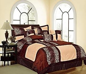 Empire Home Safari Printed Leopard Suede Winter 5-Piece Comforter Set (Brown, Twin Size)