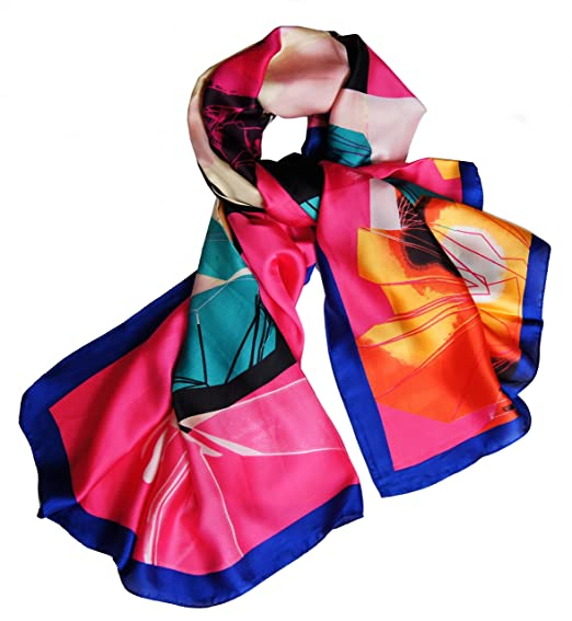 Grand foulard carré aux couleurs chatoyantes touché soie (Bleu royal)   Amazon.fr  Vêtements et accessoires 81e483a0bde