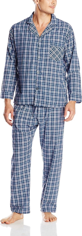 Hanes Men's Woven Plain-Weave Pajama Set: Clothing