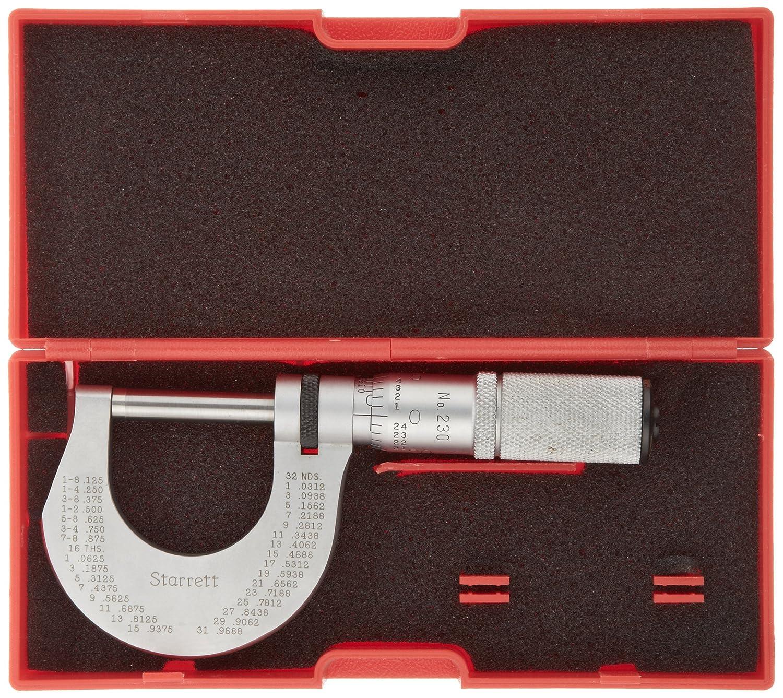 Friction Thimble Lock Nut 0-1 Range Starrett T230FL Outside Micrometer +//-0.00005 Accuracy 0.0001 Graduation