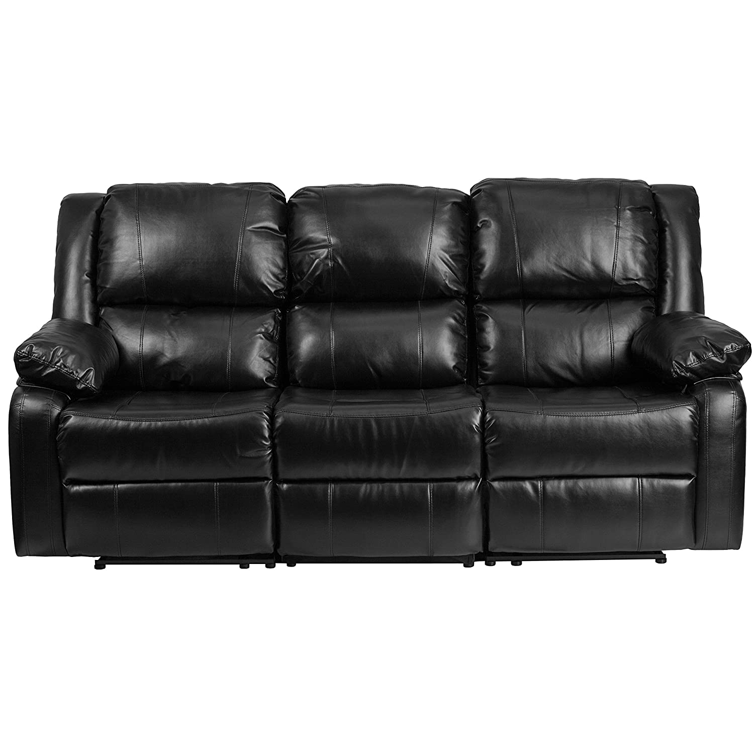 Amazon.com: Flash Furniture Harmony Series Black Leather Sofa With Two  Built In Recliners: Kitchen U0026 Dining