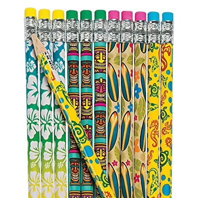 Fun Express - Luau Pencils - Stationery - Pencils - Pencils - Printed - 24 Pieces: Toys & Games