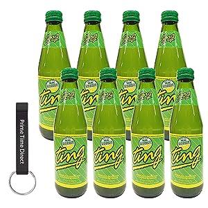 D&G Ting Soda Original Green 10.14 oz bottles (8 pack) Bundled with PrimeTime Direct Keychain Bottle Opener in a PTD Sealed Box