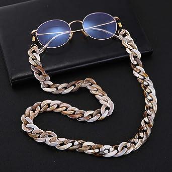 fishhook Brillen Kette Retro Resin Leopard Brillen Sonnenbrillen Lesebrillen Rutschfeste Strap Keeper Lanyard Halter Halskette f/ür Frauen M/änner