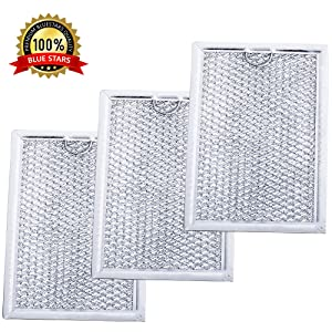 "Ultra Durable WB06X10309 Microwave Oven Grease Filter 7-5/8"" x 5"" x 3/32"" Replacement part by Blue Stars – Exact Fit For GE & Kenmore Microwaves - Replaces 910457 AP3668752 PS228019 - PACK OF 3"