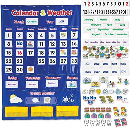 Weather Calendar 2022.Calendar Weather Pocket Chart English Teaching Material Wall Calendar Pocket Chart Calendar Weather Amazon In Office Products