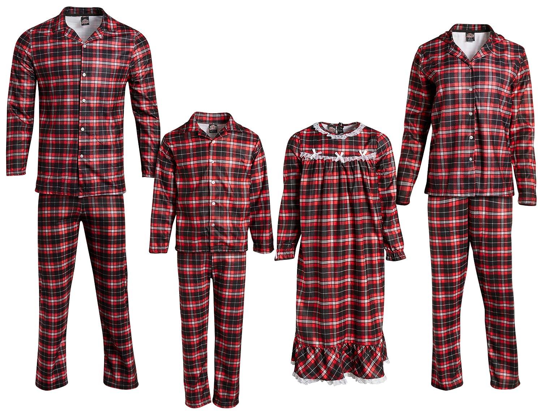 Mom, Dad /& Kids PJs /& Presents Family Matching Christmas Plaid Flannel Pajama Set