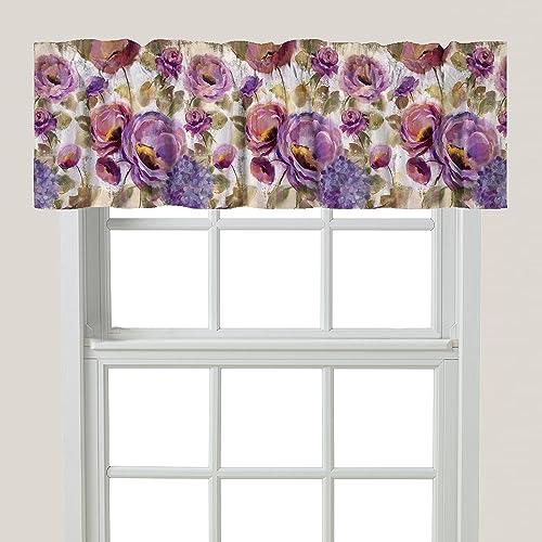 Laural Home Purple Floral Garden Window Valance