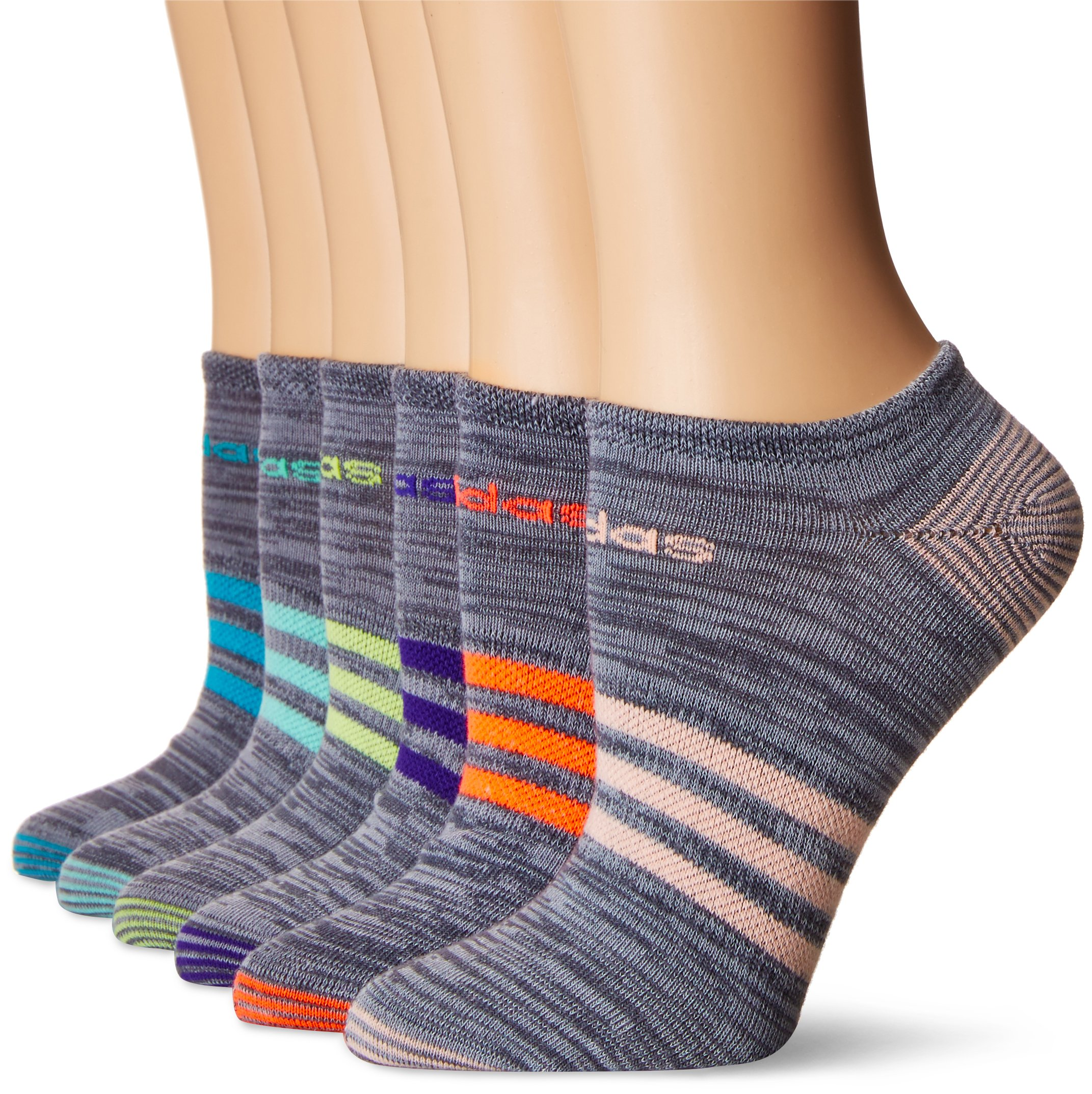 adidas Women's Superlite 6-Pack No Show Socks, Onix Clear Onix Space/Easy Green/Energy Ink Blue/Lucid Red/Frozen Yellow/Energy Blue/Haze Coral,Women's Sock size (5-10) by adidas (Image #1)