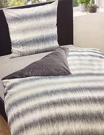 Bettwäsche Baumwolle Satin 155x220 cm 2 teilig Streifen Grau